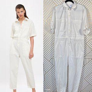 Zara Rustic Boiler Shirt Jumpsuit Oyster White